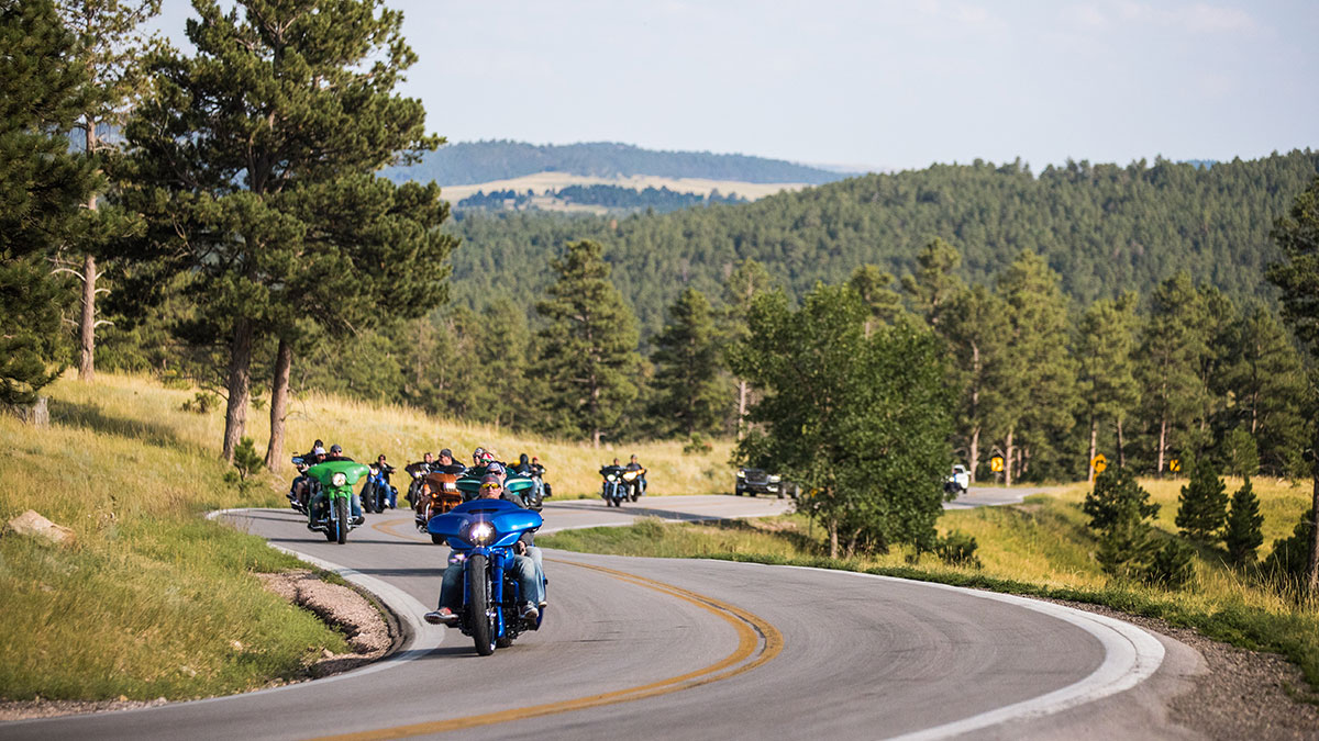 Motorcycles riding to Sturgis