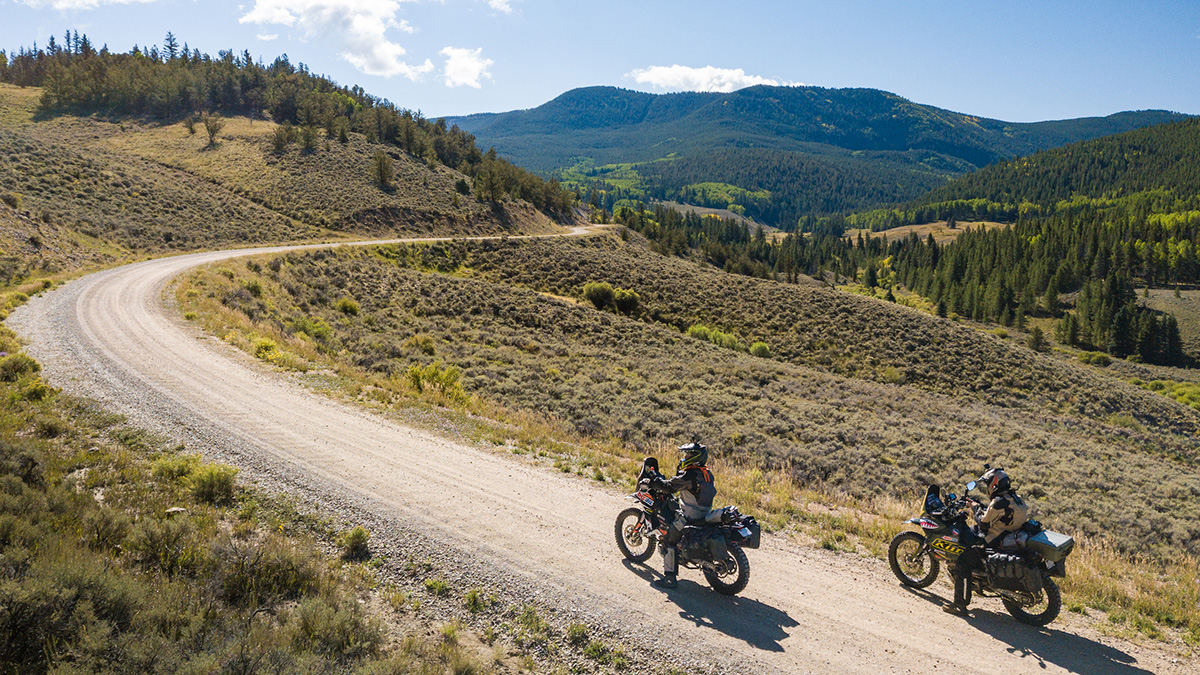 Riding motorcycles in the mountains